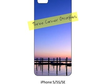 iPhone 5 printable  river-side sunset photo case design; DIY print at home iPhone accessories for 5, 5S, or SE