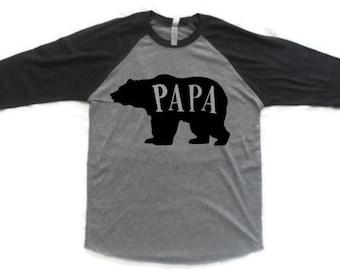 Papa Bear shirt, new dad shirt, Father's Day gift, matching shirts, Mama bear shirt, Raglan shirts, family shirts, tops and tees