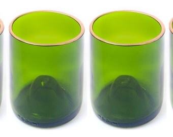 Recycled Wine Bottle Wine Glasses with Gold Rim Set of 4, Green Wine Glasses, Upcycled drinking glasses