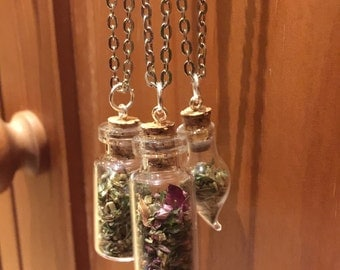 Witch/Wiccan Herb Bottle Necklaces