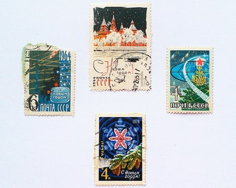 Soviet postage stamps, New Year postage stamps, Postage stamps USSR, Collectible stamps, vintage postage stamps, antique postage stamps