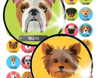"""Dog Breeds Digital Collage Sheet in 3"""" size 16 different circle Pendant Printable Download diy glass cabochon pendant jewelry making"""