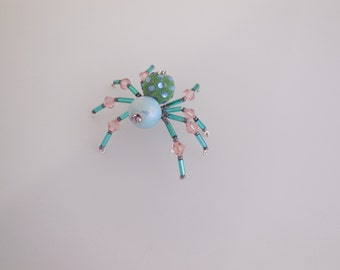 Pink, Turquoise Beaded Spider