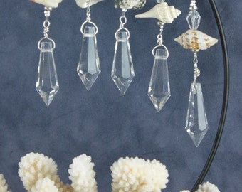 BEACH ICICLES - set of 5 - Crystal Ornaments, Icicles, Christmas Ornaments, Unique wedding favors