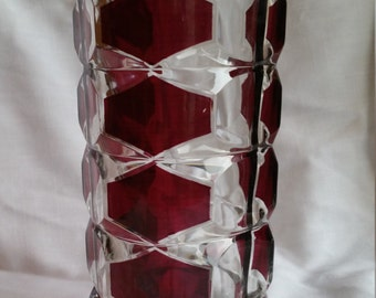 Windsor 'Rubis' cranberry clear glass vase by J G Durand France
