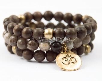 Beaded Bracelet Set | Ohm Bracelet | Wooden Bracelet | Wood Bracelet | Rustic Bracelet | Spiritual Bracelet | Bohemian Bracelet
