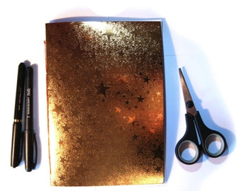 Book 15 x 21 cm Shiny Textured (24 pages) Or Orange stars - LaPaperette
