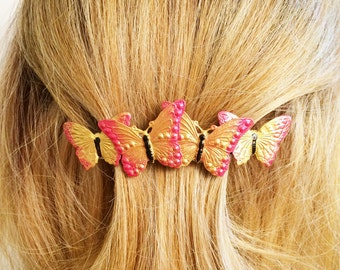 Butterfly Large French Hair Barrette, Yellow and Orange Butterfly, Monarch