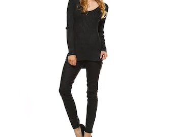 Fashionazzle Women's Long Sleeve V-Neck Ribbed Sweater Tunic Top
