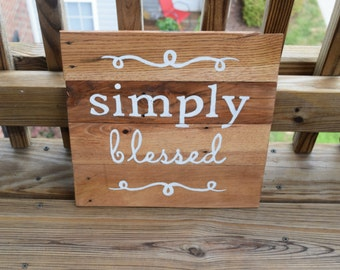 Simply Blessed Pallet Sign-Hand Painted