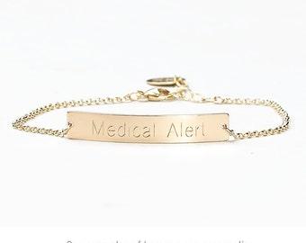 Medical Alert Bracelet, Allergy Bracelet, Medic Bracelet, Medical ID Bracelet, Allergies Bar Bracelet, Diabetic Epilepsy ICE M638