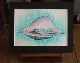 Pearlescent- An A4 original sea fairy painting/drawing by Naia Jade