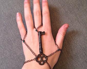 Beaded Skeleton Key Slave Bracelet