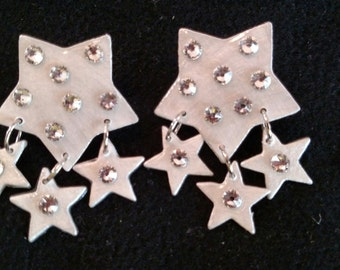 Silver Star Sparkley Earrings