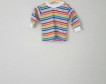 Vintage Health Tex Rainbow Long Sleeve Shirt Top for Babies