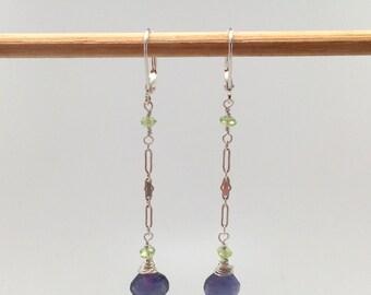 Iolite and Peridot Earrings