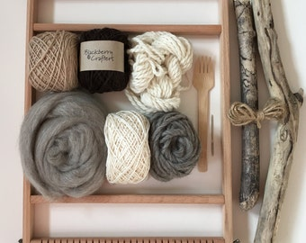 Natural colour wool weaving kit with driftwood for rustic wall hangings and tapestries. DIY gift. Weaving starter kit.