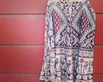 Bohemian Wrap Skirt, Vintage Boho Wrap, Hippie Wrap Skirt
