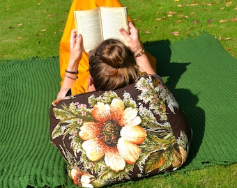 Small Bean Bag, Retro Flower Power Vintage Style Beanbag for your Sofa or Garden, Ideal for Reading a Book!