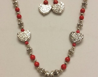 Red coral cowgirl necklace
