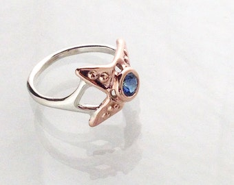 Little Starfish sapphire solitaire ring - pale blue sapphire, rose gold and silver