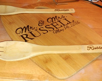 Personalized cutting board and utensils