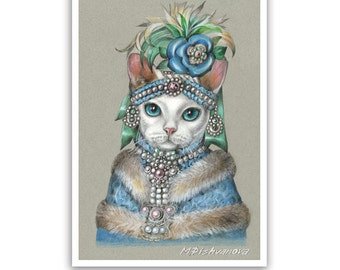 Mademoiselle Devon Rex - Cat Art Print - Cats in Clothes Prints - Grey Cat Art - Cute Pet Portraits by Maria Pishvanova