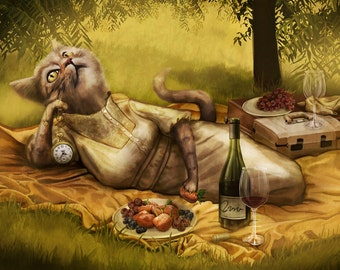 Cat Picnic Cute Funny Wine Food Art Painting Illustration- 11x17 Print - Waiting for Fredric -