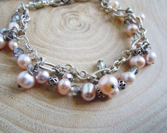 Pink beige freshwater pearl bracelet, Bohemian glass and silver plated brass