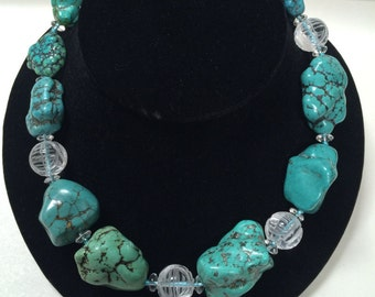 Turquoise and Quartz Crystals with Knotted Backing