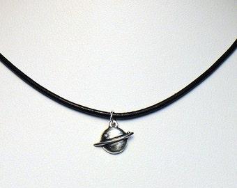 Little silver Saturn pendant