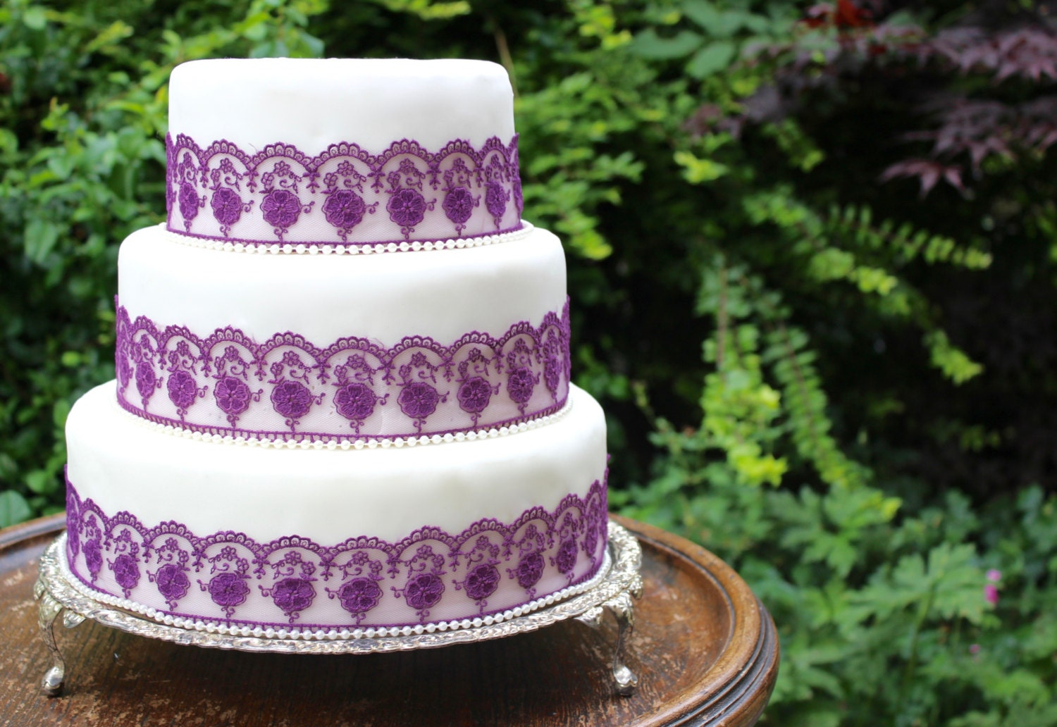 wedding cake lace trim purple lace amp pearl wedding cake trim purple wedding cake 23058