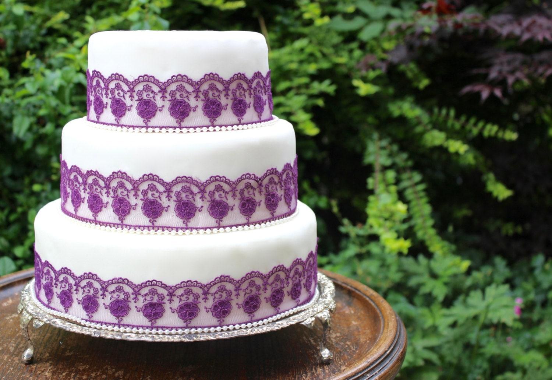 Purple Lace & Pearl Wedding Cake Trim Purple Wedding Cake