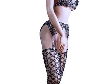 body chain Seamed Stockings , elastic flexible rubber rings Made to measure bdsm fetish lingerie dessous
