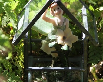 Fairies Welcome Here Miniature Handmade Leaded Glass Work Hanging Fairy House Terrarium Box Made in Germany