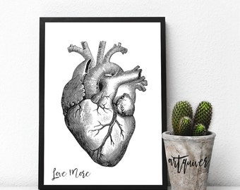 Love More Black Inspirational Wall Art, Inspirational quotes about love, Heart art, Trendy Wall Designs, Posters, framed, love, medical gift
