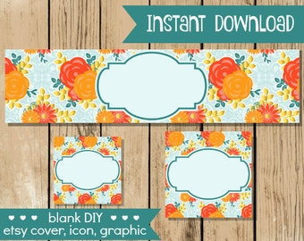 Blank DIY Etsy Shop Set - Coral Peach Flowers - Do It Yourself Shop Set - Blank Etsy Cover Icon Graphic - Fall Etsy Set - INSTANT DOWNLOAD