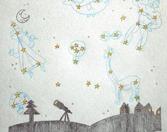The night - illustration in pencil