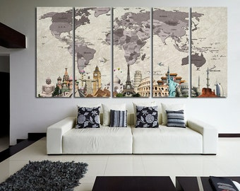 EXTRALARGE Classic or Push Pin World Map 5 Panels Set Canvas Push Pin Map Print Original Wonders of the world  Home interior Abstract Map