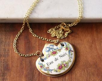 Antique Porcelain Eau de Nuit Bone China Liquor Tag Spirits Necklace // Made in England