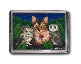 Owls Cat Magnet Saw Whet Owl Abyssinian Cat Fantasy Cat Art Framed Magnet Gifts For Cat Lovers