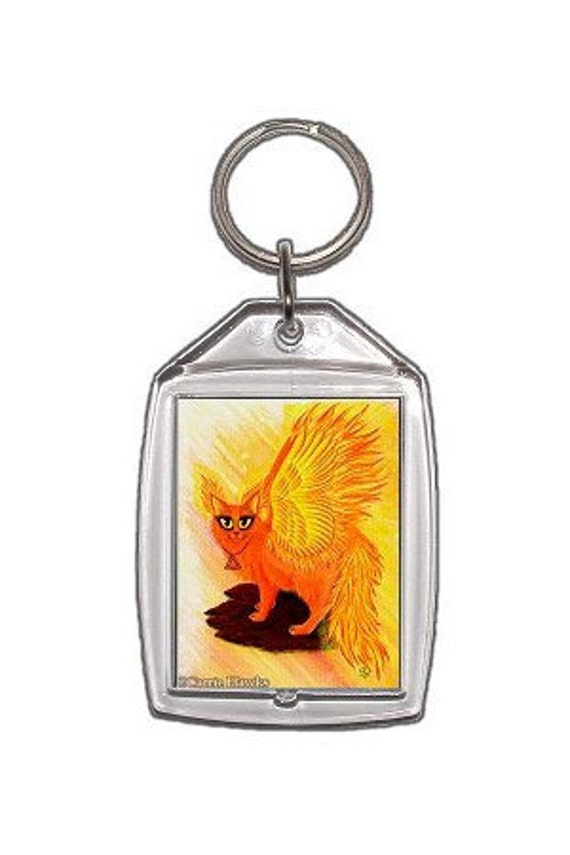 Elemental Fire Cat Keychain Flames Winged Phoenix Cat Elements Lava Rock Fantasy Cat Art Keychain Cat Lovers GiftKeyring
