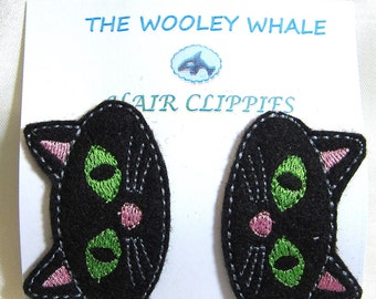 Black Cat Hair Clips set of 2 embroidered on felt