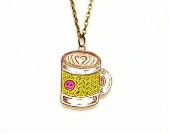 Coffee Necklace, Coffee Mug Necklace, Coffee Cup Necklace, Knit Cozy, Coffee Lover Gift, Gift for Knitter, Coffee Jewelry, Latte Necklace