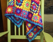 Crochet Granny Square Afghan Crochet Blanket Hippie Patchwork Bright Kaleidoscope Colors