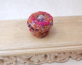 Unique Silk Sari Basket with Button Embellished Lid - Handmade Home Decor Gift for Her - Pink Purple Decorative Jewelry Storage Box STB038