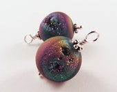 Druzy Agate Ear Drops, Titanium Coated Matte Finish, Peacock Colors, Holiday Dangles - INTERCHANGEABLE DROPS – Ear Wires Sold Separately