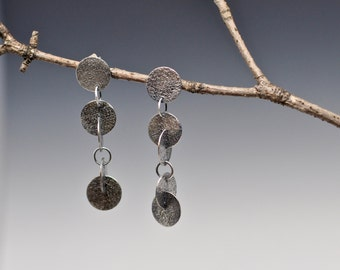 Round Right Angle Earrings Sterling Silver Handmade