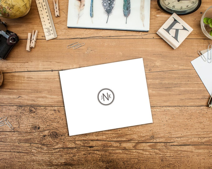 Circle Monogram, Notecards, Set of 10, A2 Folded Notecards, Simple Monogram Notecards, includes Envelopes, Personalized Notecards