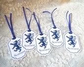 Scotland Rampant Lion Tags, Heraldry, Navy Blue Tags for party favors, Set of 5, Scottish Heritage